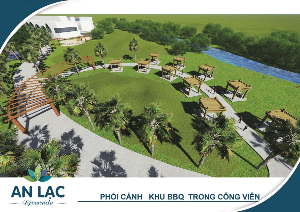 Phối cảnh khu BBQ trong công viên trung tâm dự án An Lạc Riverside