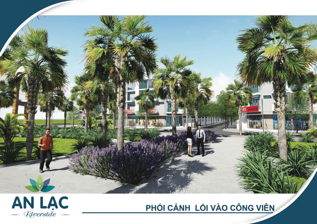 Phối cảnh lối vào công viên dự án khu dân cư An Lạc Riverside