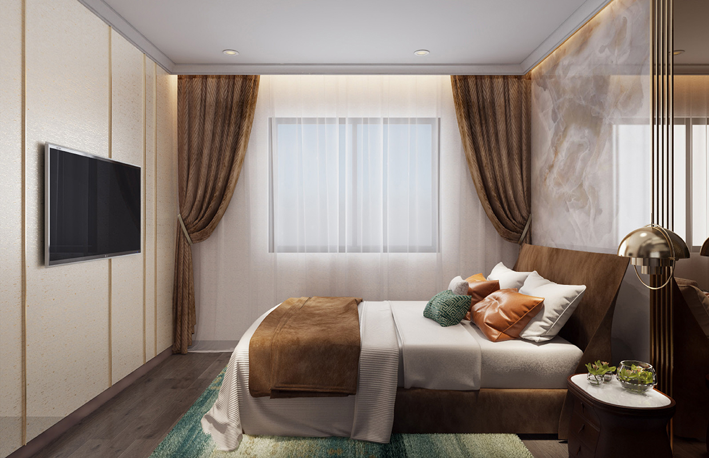 Phối cảnh phòng ngủ nhà mẫu dự án Opal Boulevard