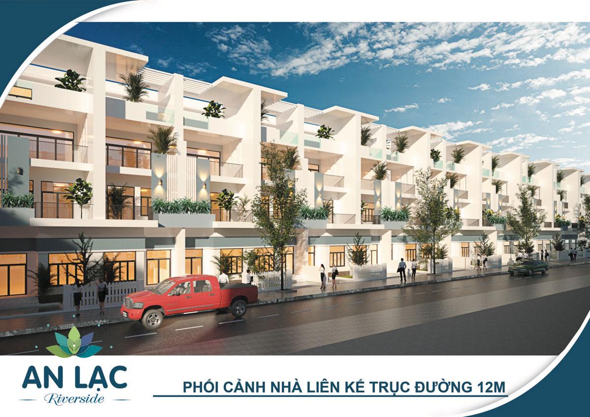 Phối cảnh nhà phố liên kế trục đường 12m dự án khu dân cư An Lạc Riverside