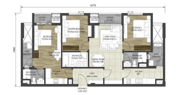 Mặt bằng căn hộ điển hình (căn dual key) tại D – Homme quận 6