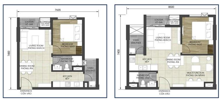 Mặt bằng căn hộ điển hình (căn 1 phòng ngủ) tại D – Homme quận 6