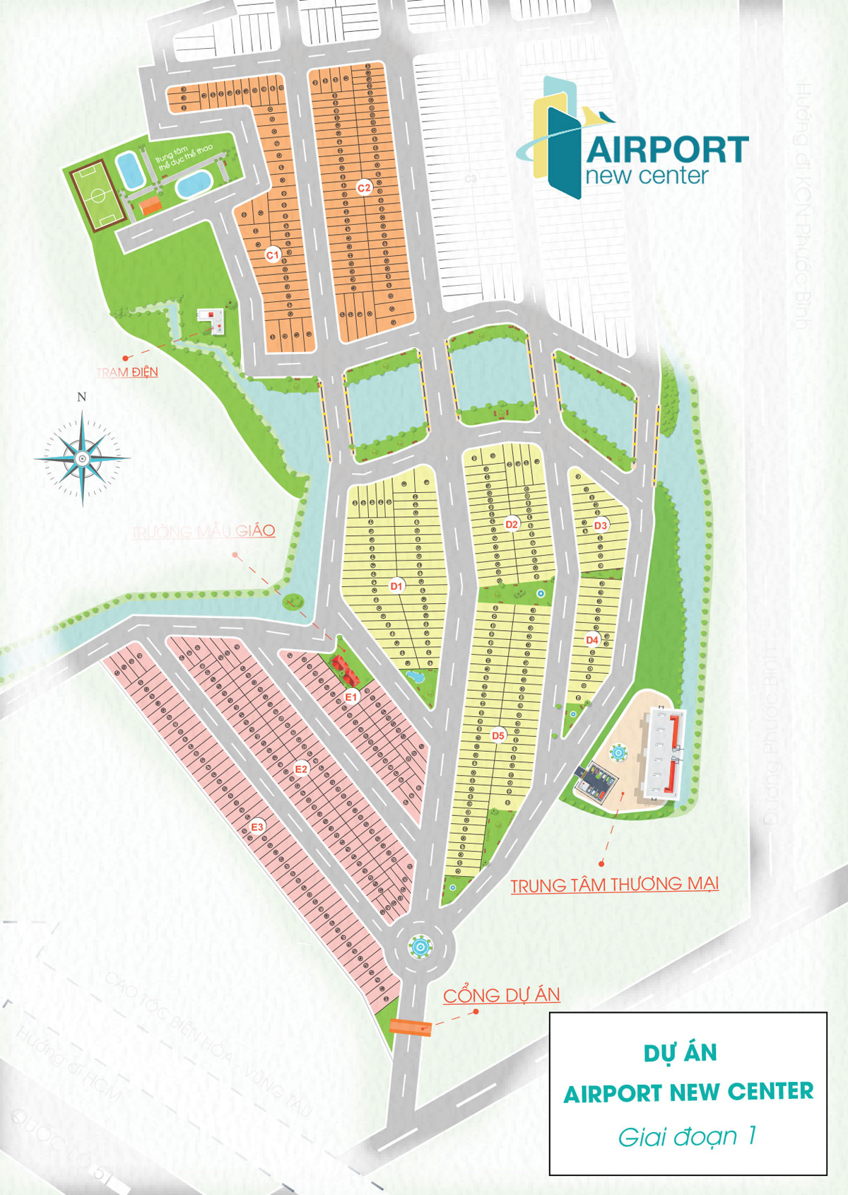 Mặt bằng dự án Airport New Center huyện Long Thành (GĐ1)