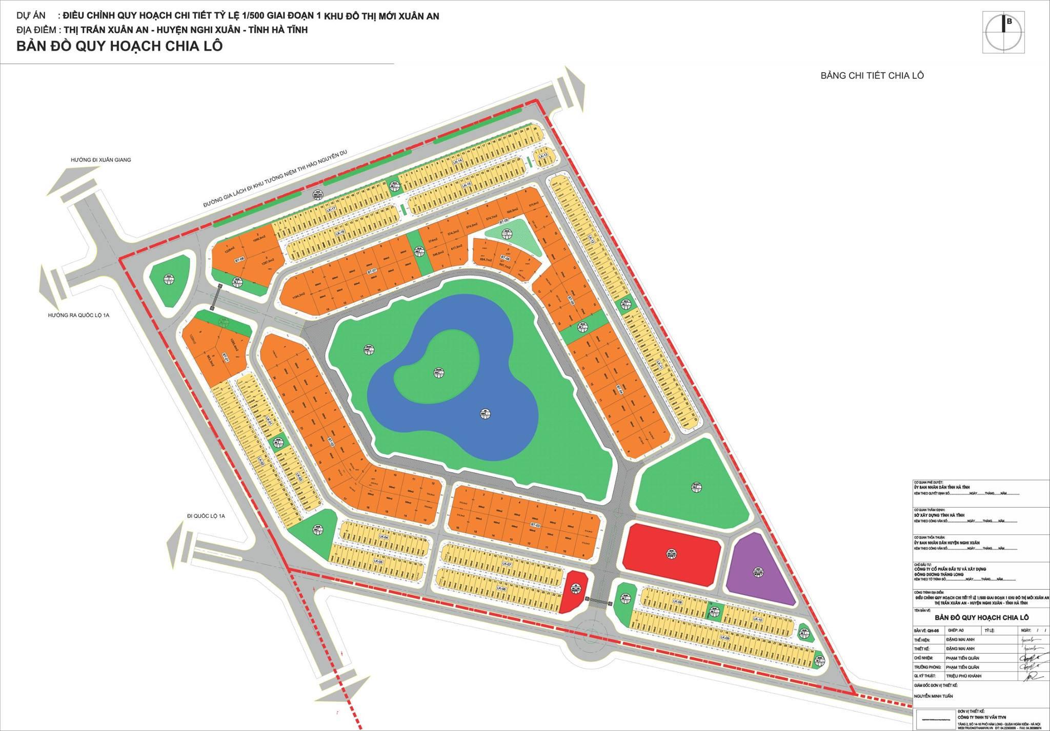 Mặt bằng dự án khu đô thị Xuân An Green Park
