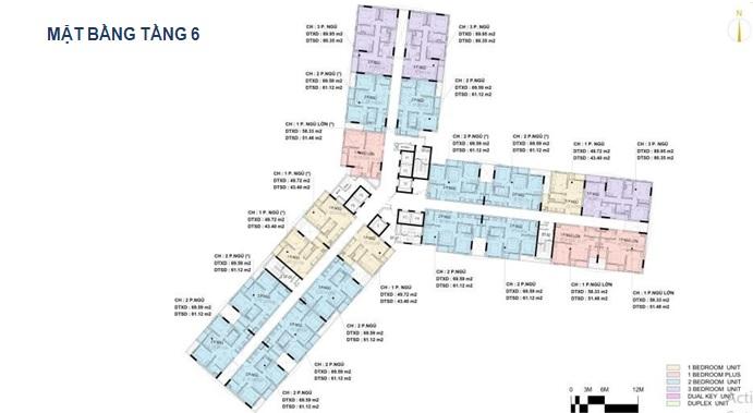 Mặt bằng tầng căn hộ điển hình (tầng 6) của dự án D – Homme