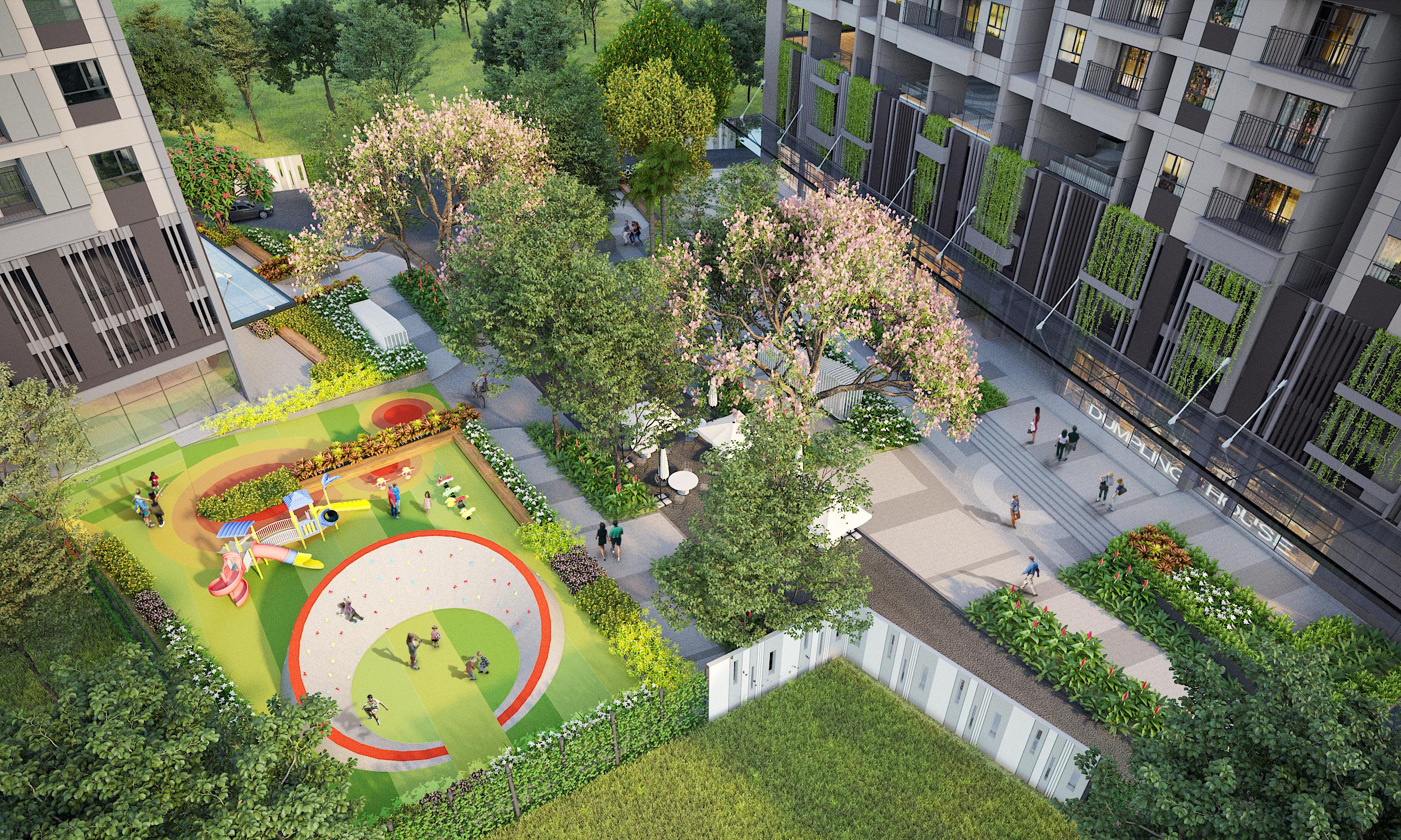 Phối cảnh công viên nội khu khuôn viên dự án Opal Boulevard