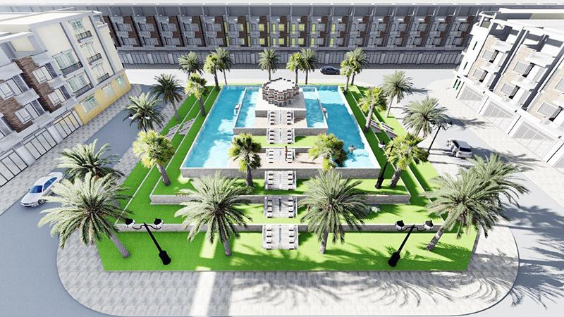 Phối cảnh hồ bơi nội khu dự án Tà Bế Gold City Đồng Xoài
