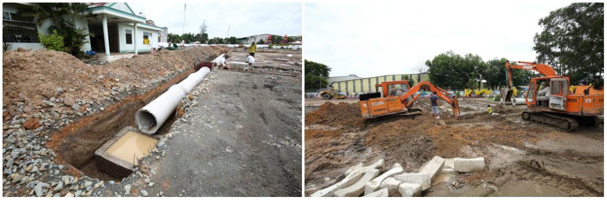 Thi công lắp hệ thống cấp thoát nước âm trong khu dân cư Cát Tường Phú Bình hiện đã hoàn thiện