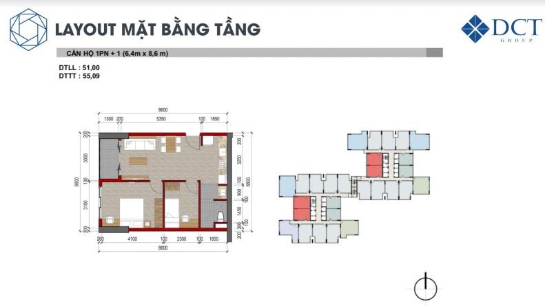 Mặt bằng căn hộ 1 phòng ngủ điển hình dự án Charm City Bình Dương