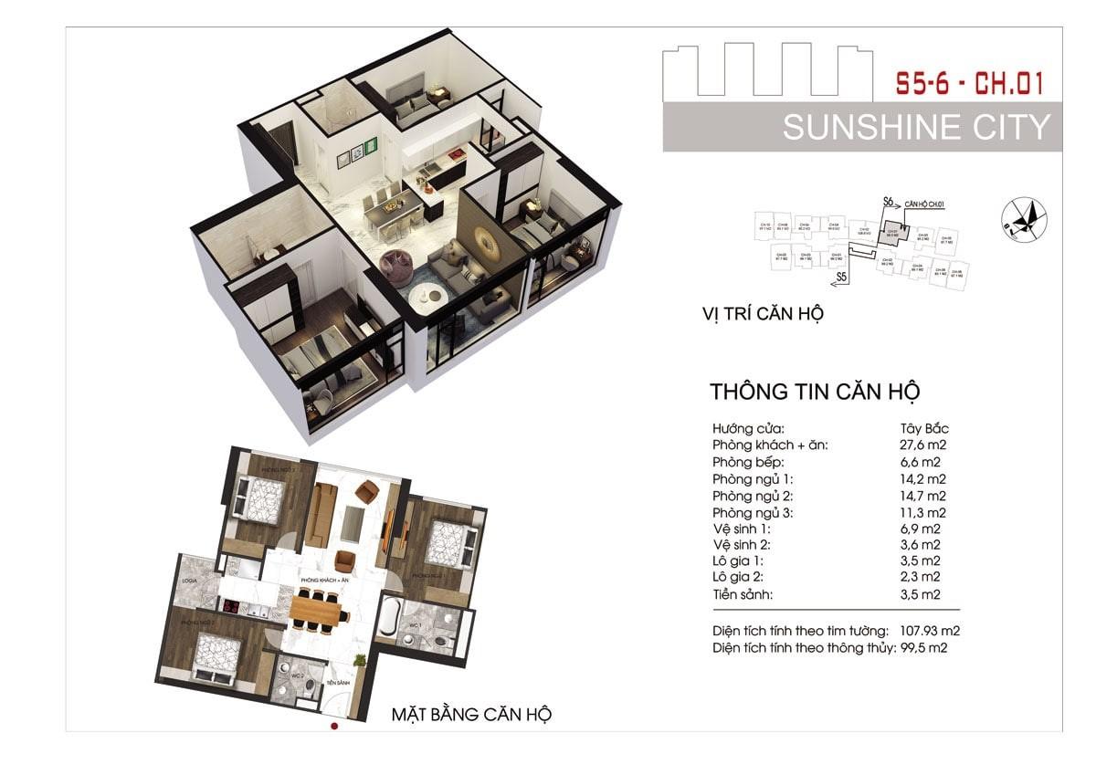 Mặt bằng căn hộ điển hình (căn hộ 01) tại dự án Sunshine City Sài Gòn quận 7