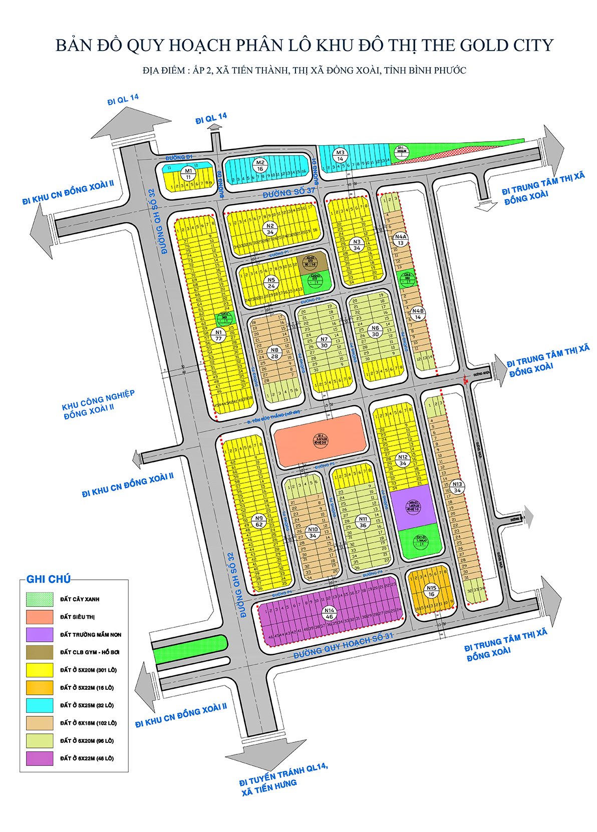 Mặt bằng phân lộ dự án The Gold City Bình Phước