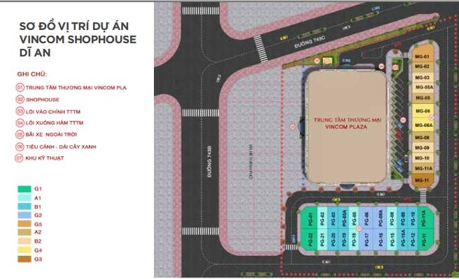 Mặt bằng vị trí dự án Vincom Shophouse Dĩ An