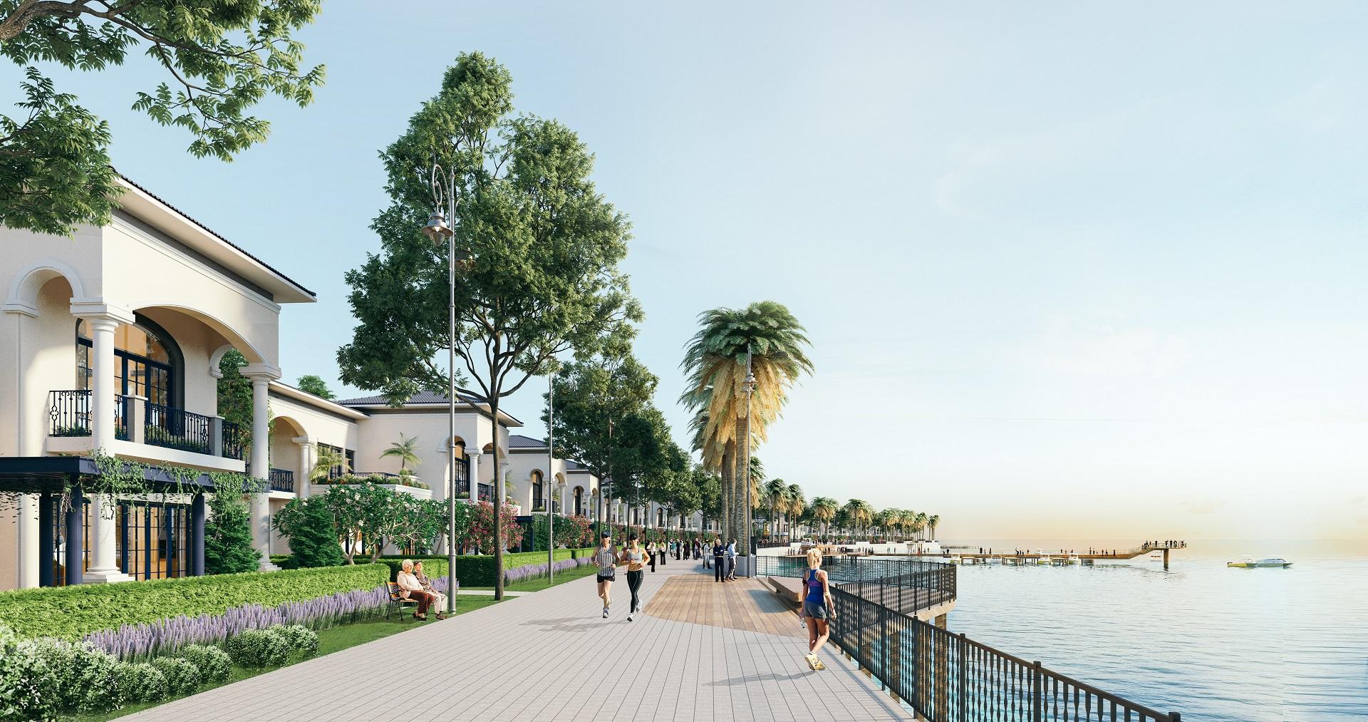 Phối cảnh cầu dạo bộ ven hồ cảnh quan trong khuôn viên dự án Ha Tien Venice Villas