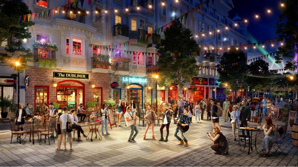 Phối cảnh quảng trường trung tâm ngoài trời tại khuôn viên các căn shophouse Europe