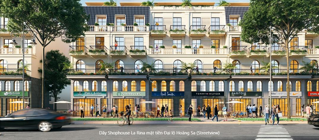 Dãy shophouse La Rina mặt tiền Đại lộ Hoàng Sa (Streeview)