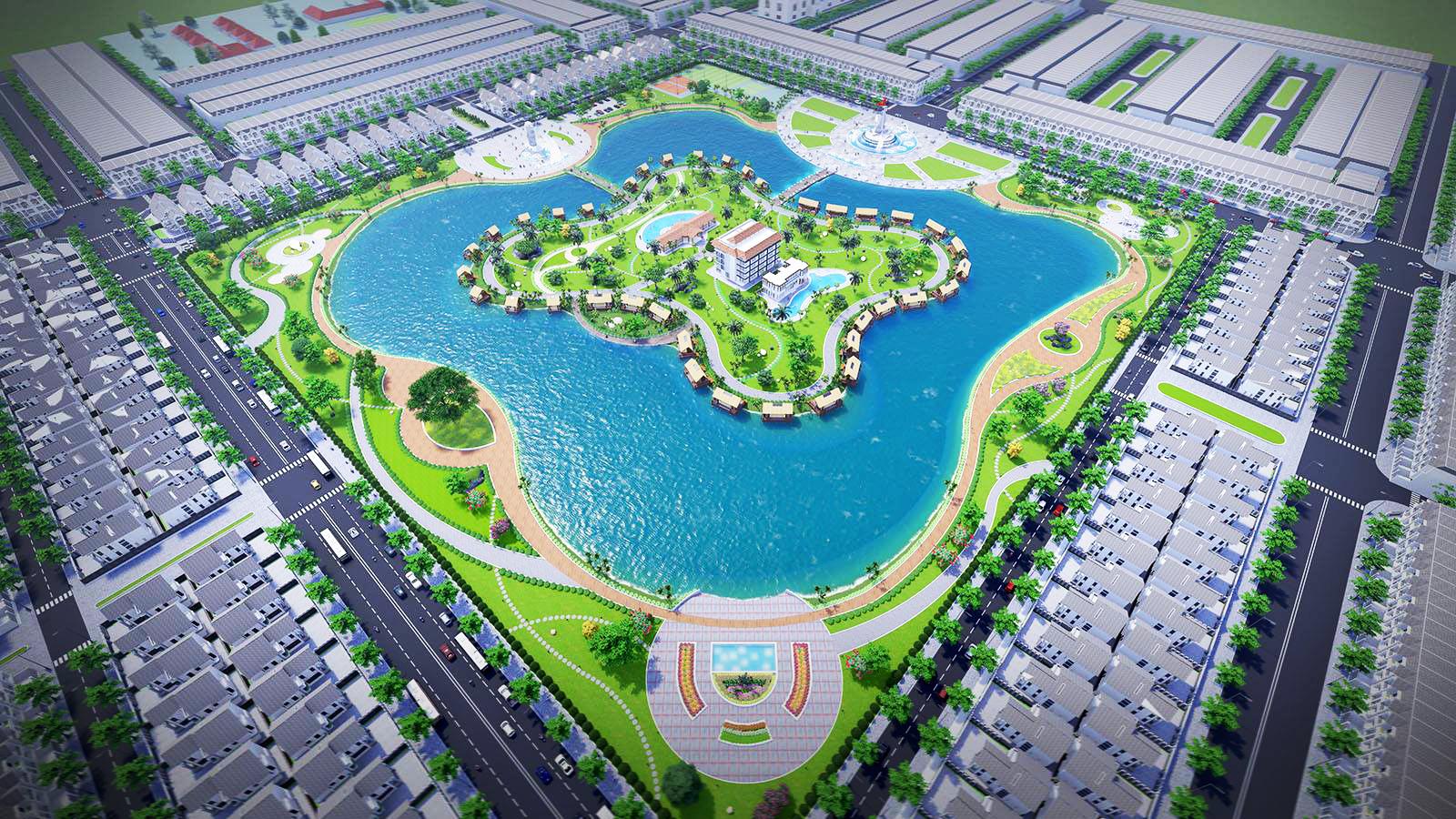 Phối cảnh tổng thể khu đất quy hoạch dự án Happy Home Cà Mau nhìn từ trên cao