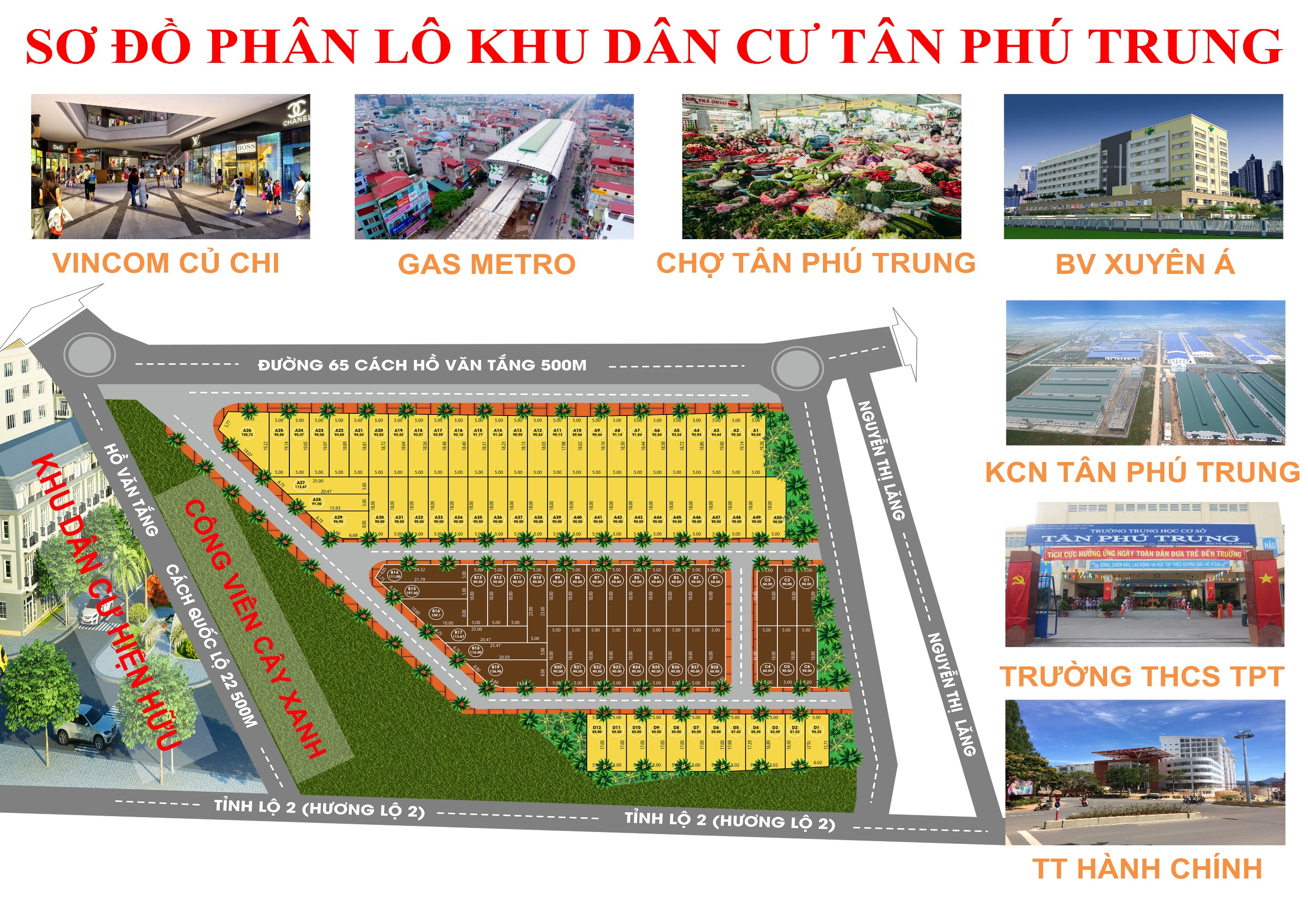 Mặt bằng phân lô các nền sắp dự án khu dân cư Tân Phú Trung Củ Chi