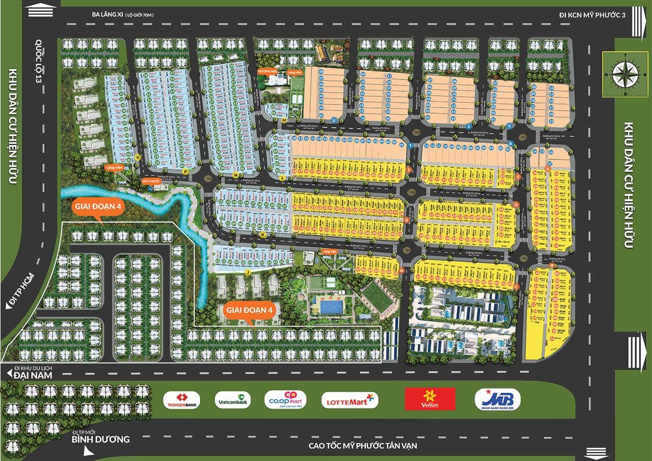 Mặt bằng phân lô dự án khu đô thị Phương Trường An Bình Dương
