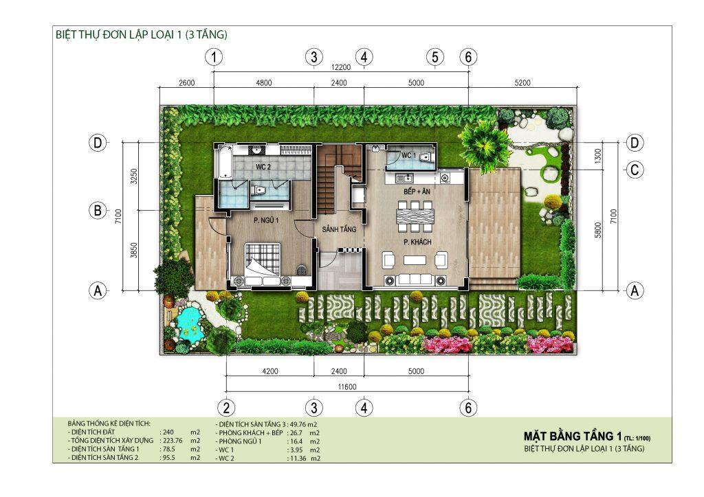 Mặt bằng tầng điển hình (tầng 1) biệt thự đơn lập dự án AE Resort Cửa Tùng