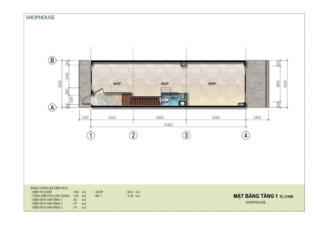 Mặt bằng tầng điển hình (tầng 1) shophouse dự án AE Resort Cửa Tùng