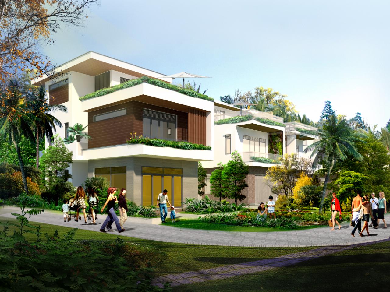 Phối cảnh biệt thự đơn lập dự án khu đô thị sinh thái biển AE Resort Cửa Tùng
