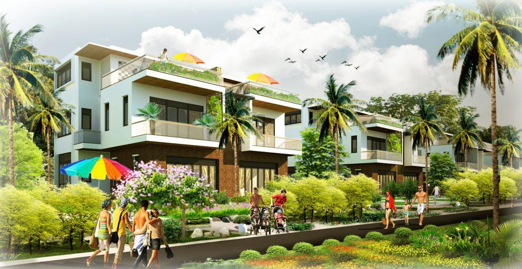 Phối cảnh biệt thự song lập khu đô thị nghỉ dưỡng AE Resort Cửa Tùng