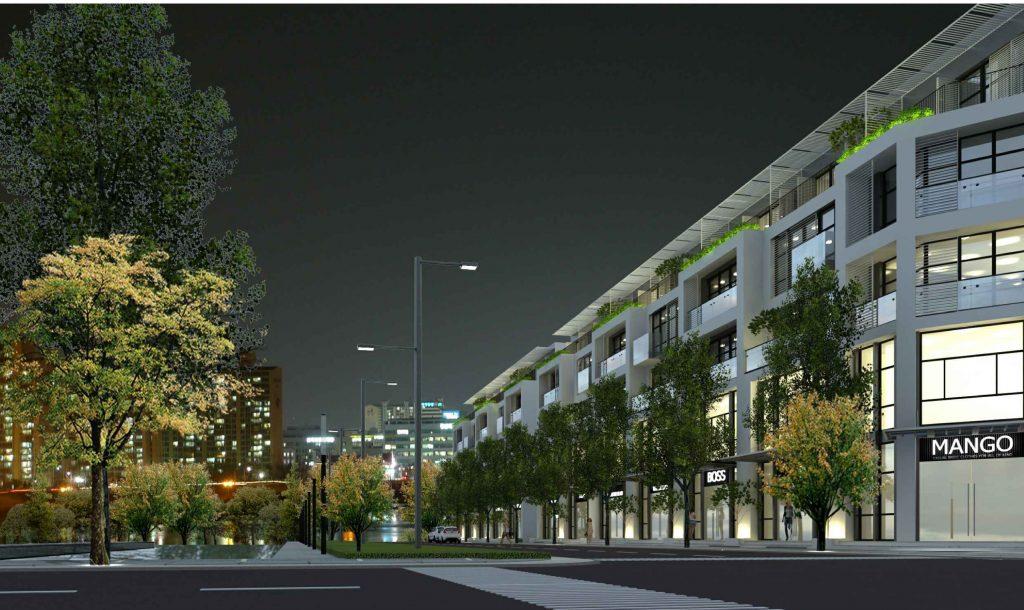 Phối cảnh dãy nhà phố thương mại dự án khu đô thị Promexco Móng Cái