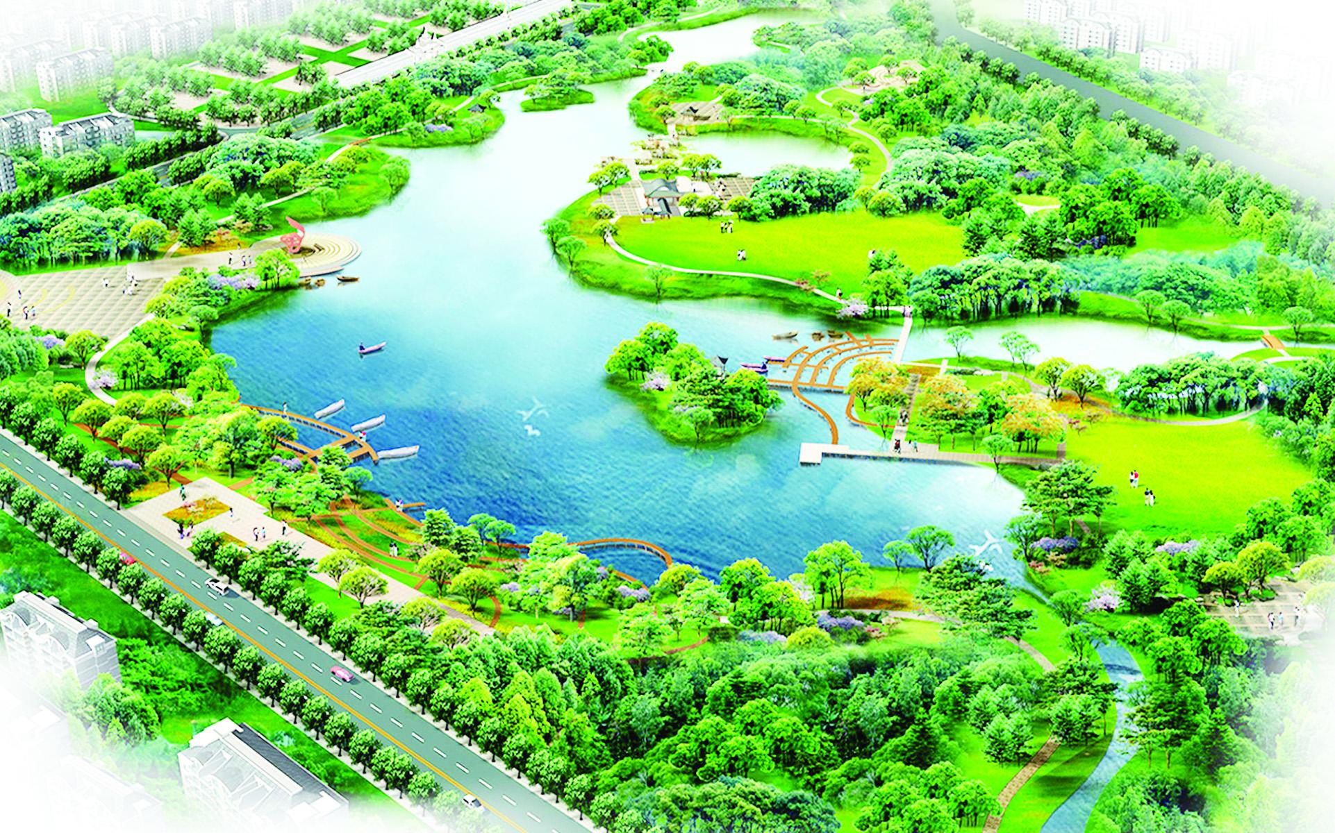 Phối cảnh hồ cảnh quan ngay giữa trung tâm khu đô thị Phú Mỹ