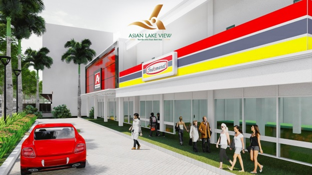 Phối cảnh khu thương mại mua sắm trong khuôn viên dự án Asian Lake View Bình Phước