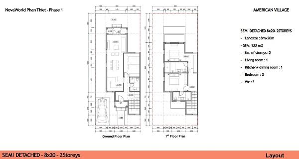 Thiết kế chi tiết biệt thự song lập diện tích 160m2 dự án NovaWorld Ho Tram