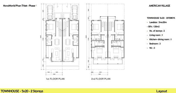 Thiết kế chi tiết căn hộ liền kề diện tích 100m2 dự án NovaWorld Ho Tram