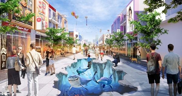 Tuyến phố đi bộ dự án khu phức hợp LIC City với các cửa hàng mua sắm, ẩm thực