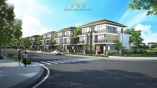 Phối cảnh dãy nhà dự án khu đô thị sinh thái Nhơn Hội New City