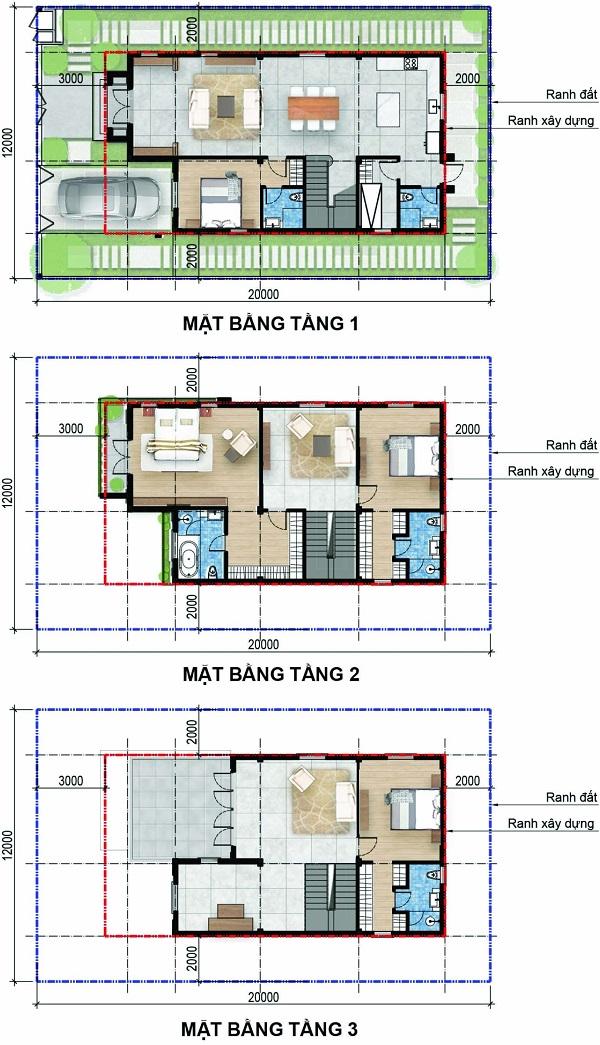 Mặt bằng chi tiết biệt thự đơn lập có diện tích đất 240 m2, tổng diện tích sàn xây dựng 301.3 m2