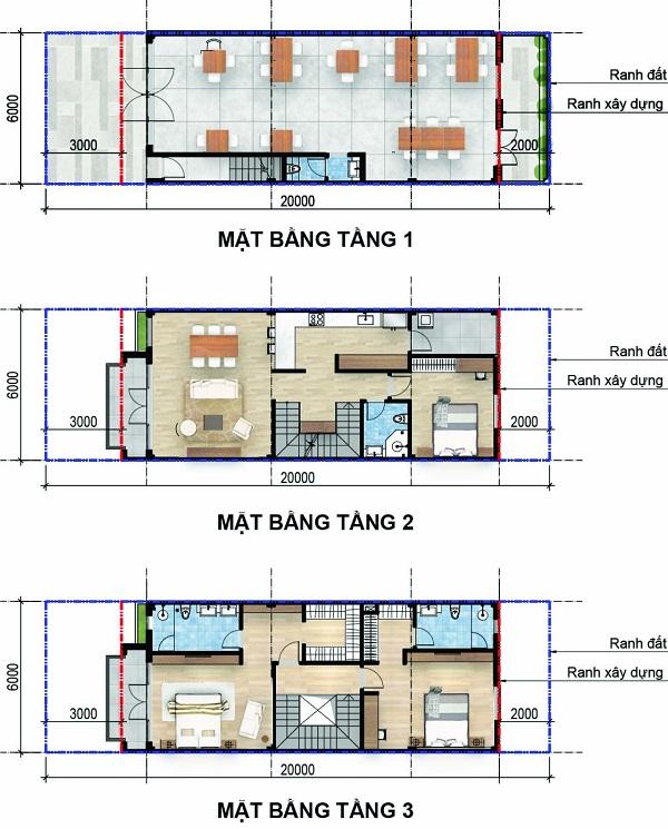 Mặt bằng chi tiết nhà phố thương mại có diện tích đất 120 m2, tổng diện tích sàn xây dựng 263 m2