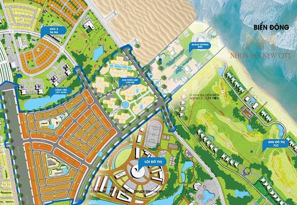 Mặt bằng phân lô dự án khu đô thị sinh thái Nhơn Hội New City