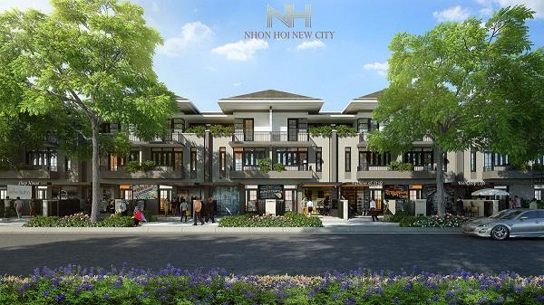 Phối cảnh nhà liên kế thương mại dự án khu đô thị sinh thái Nhơn Hội New City