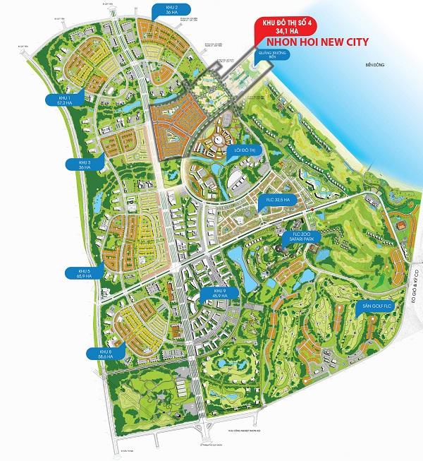 Vị trí dự án khu đô thị sinh thái Nhơn Hội New City