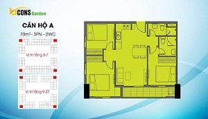 Căn A có diện tích 70 m2 (loại căn 3PN và 2WC)