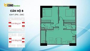 Căn B có diện tích 63m2 (loại căn 2PN và 2WC)