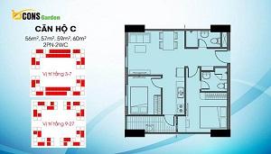 Căn C có diện tích dao động từ 56 m2, 57 m2, 59m2 và 60 m2 (loại căn 2PN và 2WC)
