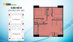 Căn D có diện tích dao động 57 m2 và 60 m2 (loại căn 2PN và 2WC)