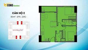 Căn E có diện tích 58 m2 (loại căn 2PN và 2WC)