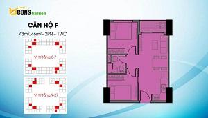 Căn F có diện tích dao động 43 m2 và 46 m2 (loại căn 2PN và 1WC)