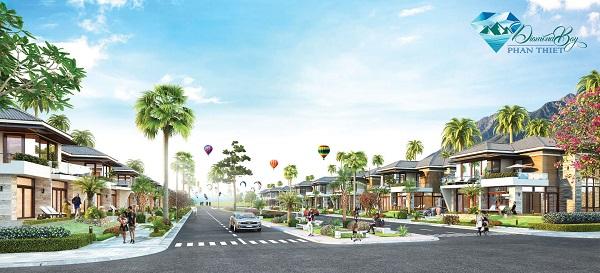 Phối cảnh đường nội khu tại dự án Diamond Bay Phan Thiết