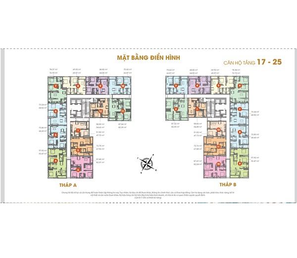 Mặt bằng tầng 17 – 25 dự án căn hộ Central Premium