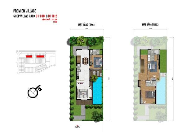 Mặt bằng chi tiết shopvilla 1 trệt và 1 lầu tại dự án khu du lịch nghỉ dưỡng Lagoona