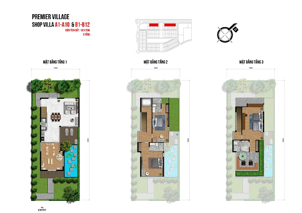 Mặt bằng chi tiết shopvilla 1 trệt và 2 lầu tại dự án khu du lịch nghỉ dưỡng Lagoona