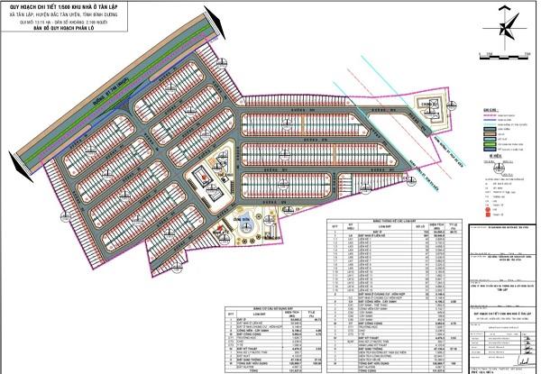 Mặt bằng tổng thể 1/500 dự án khu đô thị Tân Lập Garden