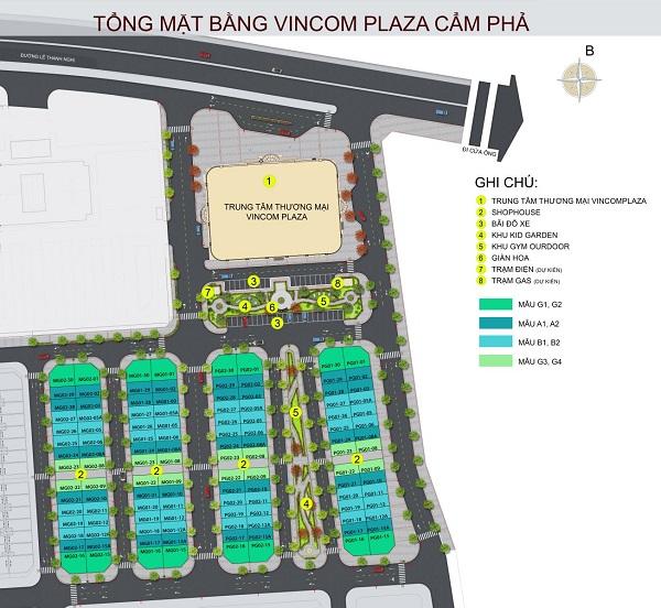 Mặt bằng tổng thể dự án tổ hợp nhà phố thương mại Vincom Shophouse Cẩm Phả